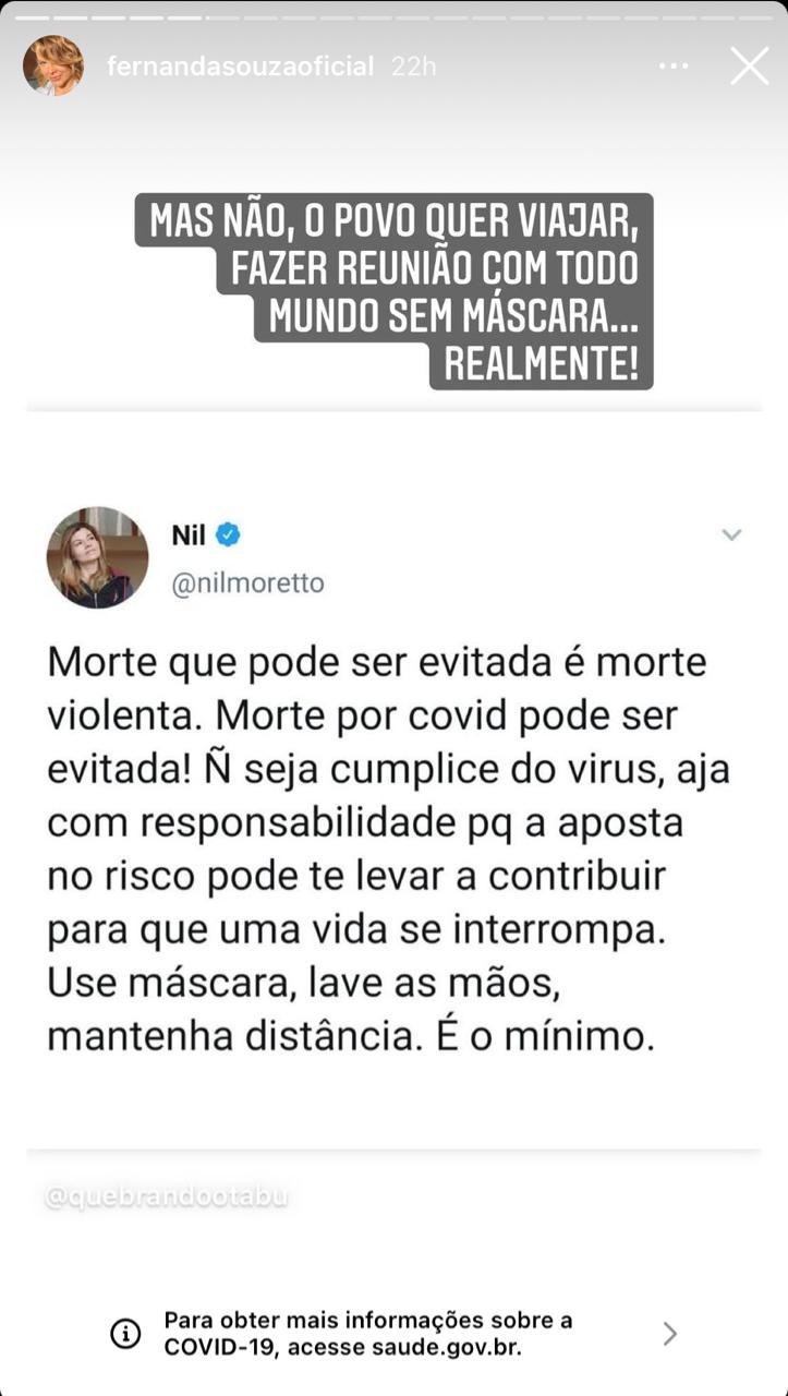 Fernanda Souza surge nas redes sociais para desabafar sobre mortes (Reprodução)