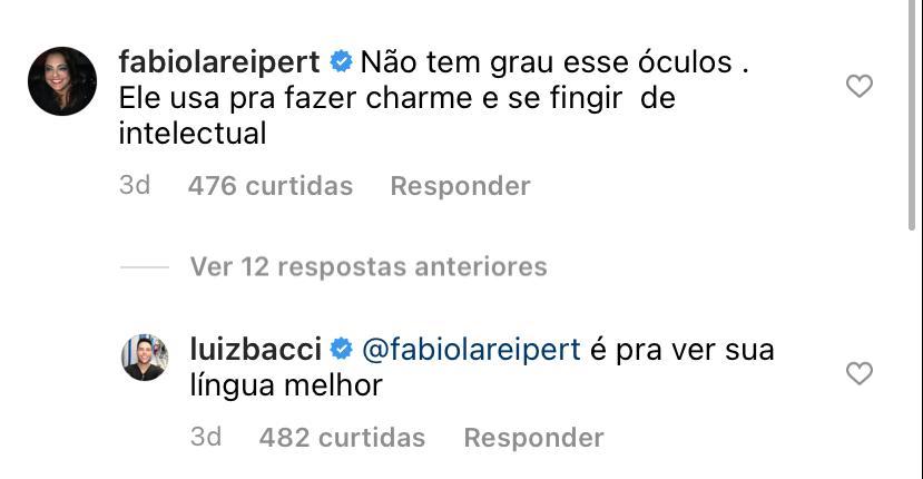 Luiz Bacci é desmascarado por Fabiola Reipert (Reprodução: Instagram)