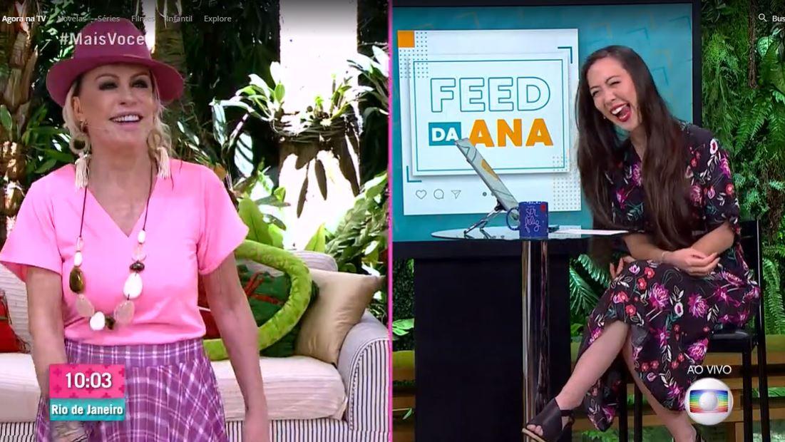 """Ana Maria e Ju Massaoka no quadro """"Feed da Ana"""" (Foto: Reprodução/TV Globo)"""
