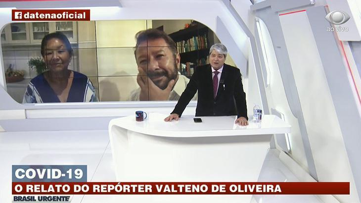 """Datena faz repórter chorar ao vivo durante """"Brasil Urgente""""(Reprodução)"""
