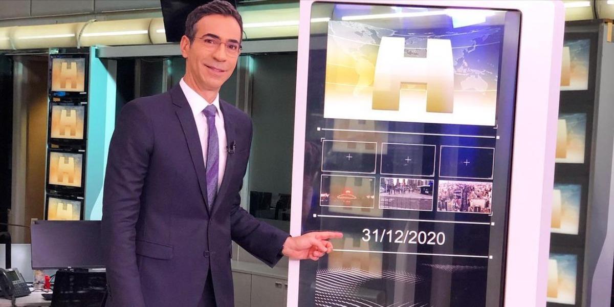 """César Tralli no último """"Jornal Hoje"""" do ano, na Globo (Foto: Reprodução/Instagram)"""