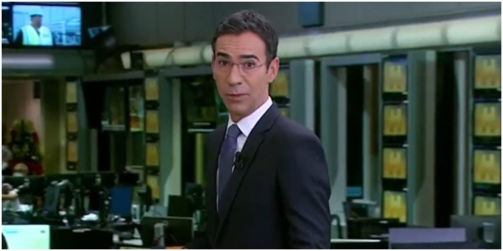 O jornalista César Tralli, da Globo vem dando mais audiência que Maju em substituição no JH - Foto: Reprodução/Globo