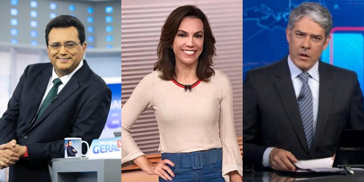 Geraldo Luís, Ana Paula Araújo no comando do Bom Dia Brasil e William Bonner no comando do JN (Foto: Montagem/TVFoco)
