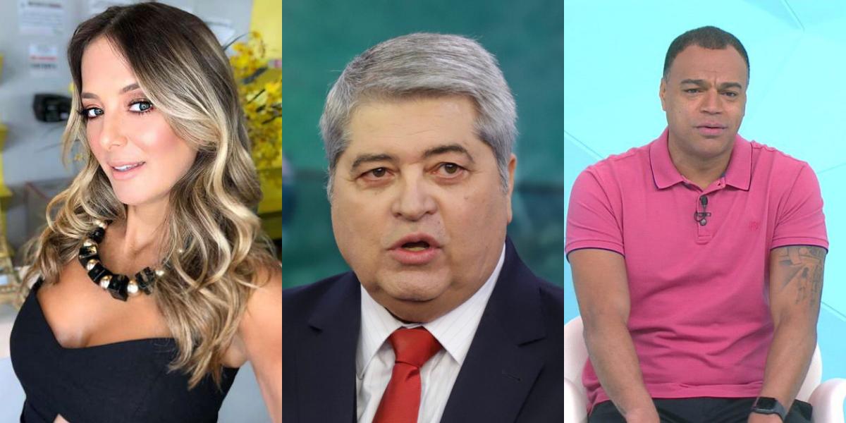 Ticiane Pinheiro, Datena e Denílson (Foto: Montagem/TVFoco)