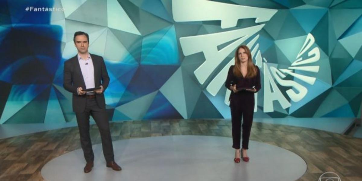 Poliana Abritta e Tadeu Schmidt no comando do Fantástico (Foto: Reprodução)