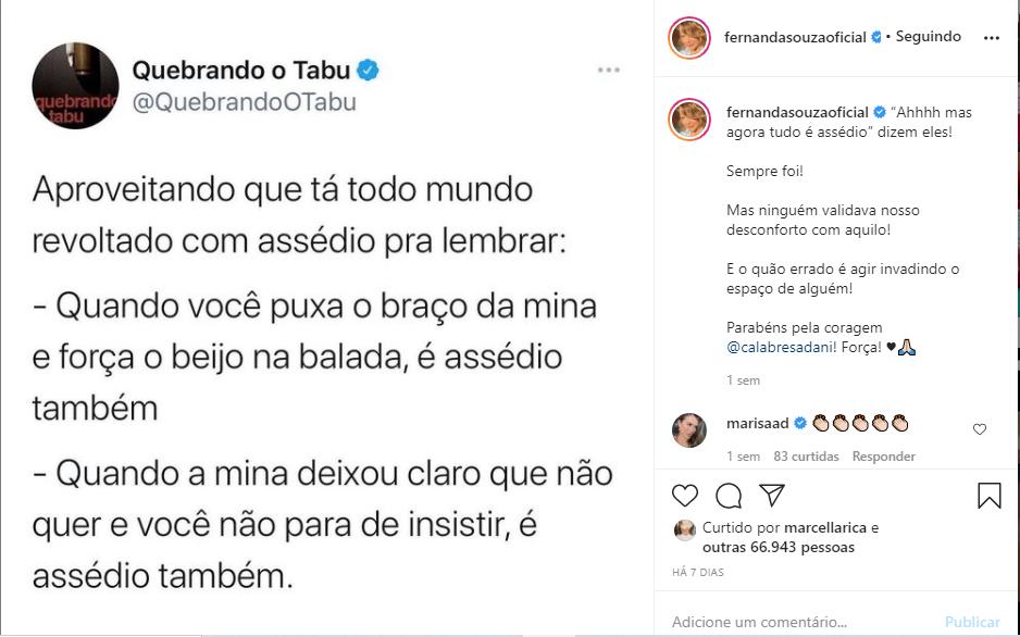 Fernanda Souza expõe revolta em caso de Dani Calabresa que foi assediada na Globo (Foto: Reprodução)