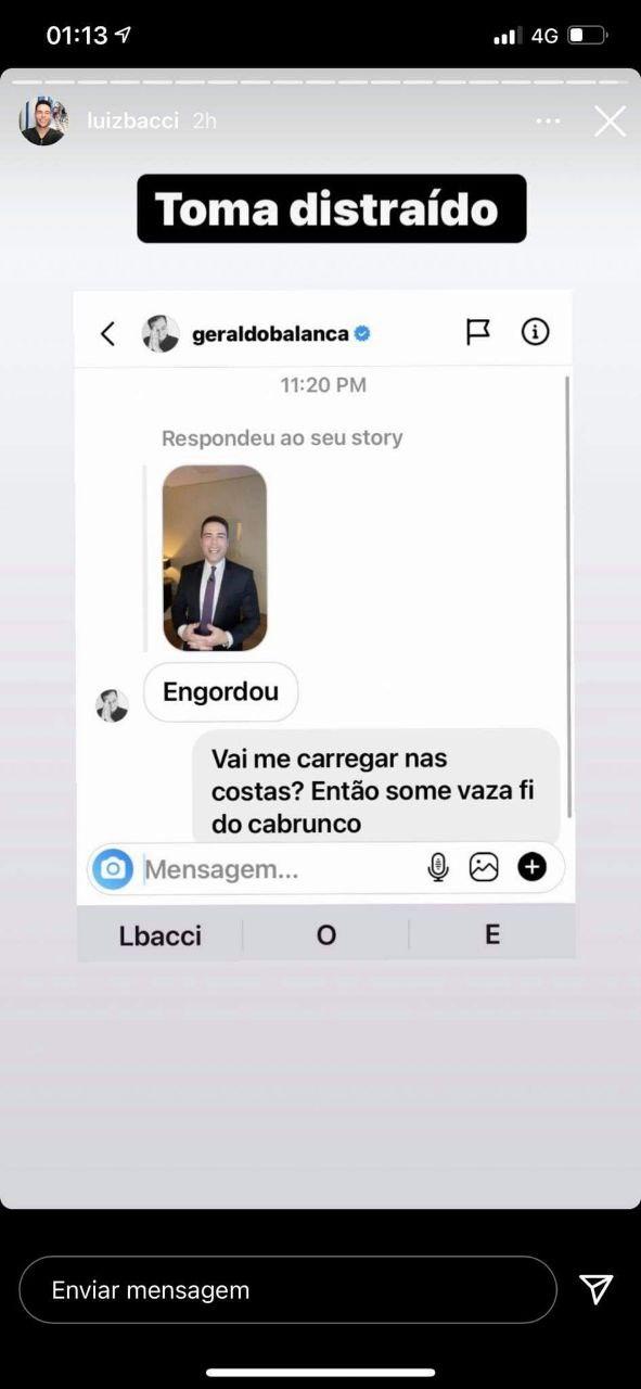 Luiz Bacci expôs a conversa que teve com Geraldo Luís (Foto: Reprodução)