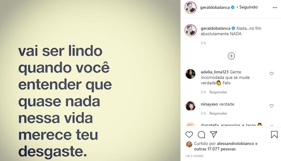 Geraldo Luís mandou um recado na lata (Foto: Reprodução/ Instagram)
