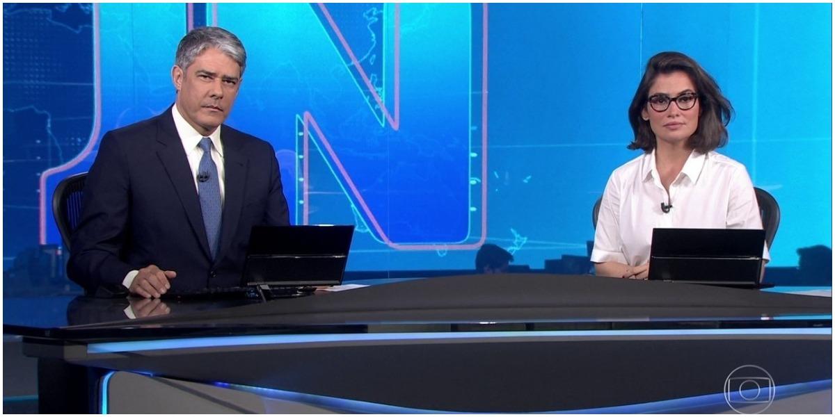 William Bonner e Fátima Bernardes no comando do Jornal Nacional na Globo - Foto: Reprodução