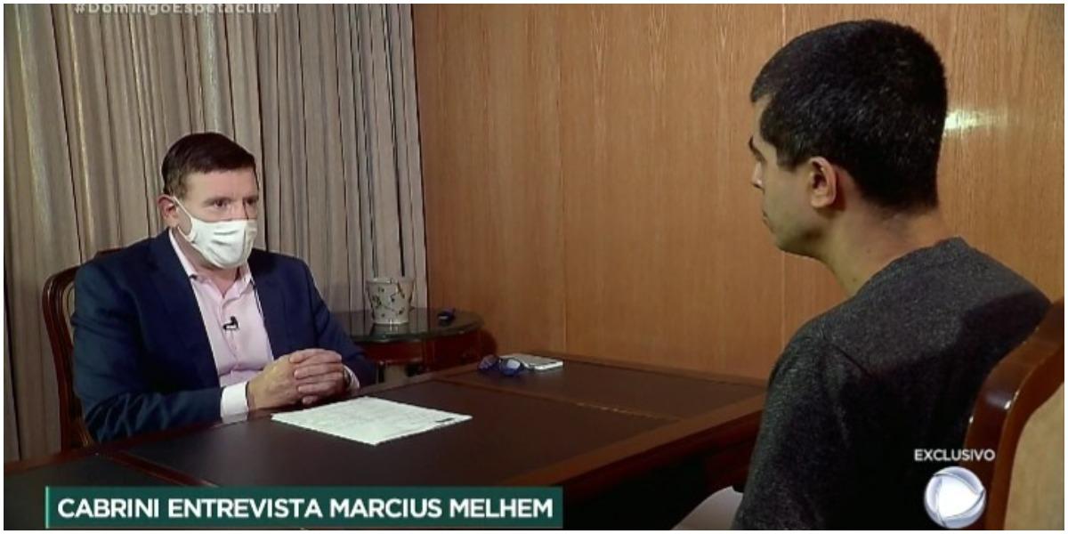 Roberto Cabrini entrevistou Marcius Melhem na Record - Foto: Reprodução
