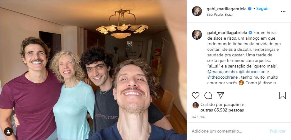Marília Gabriela expõe encontro com Reinaldo Gianecchini, filho e genro (Foto: Reprodução)