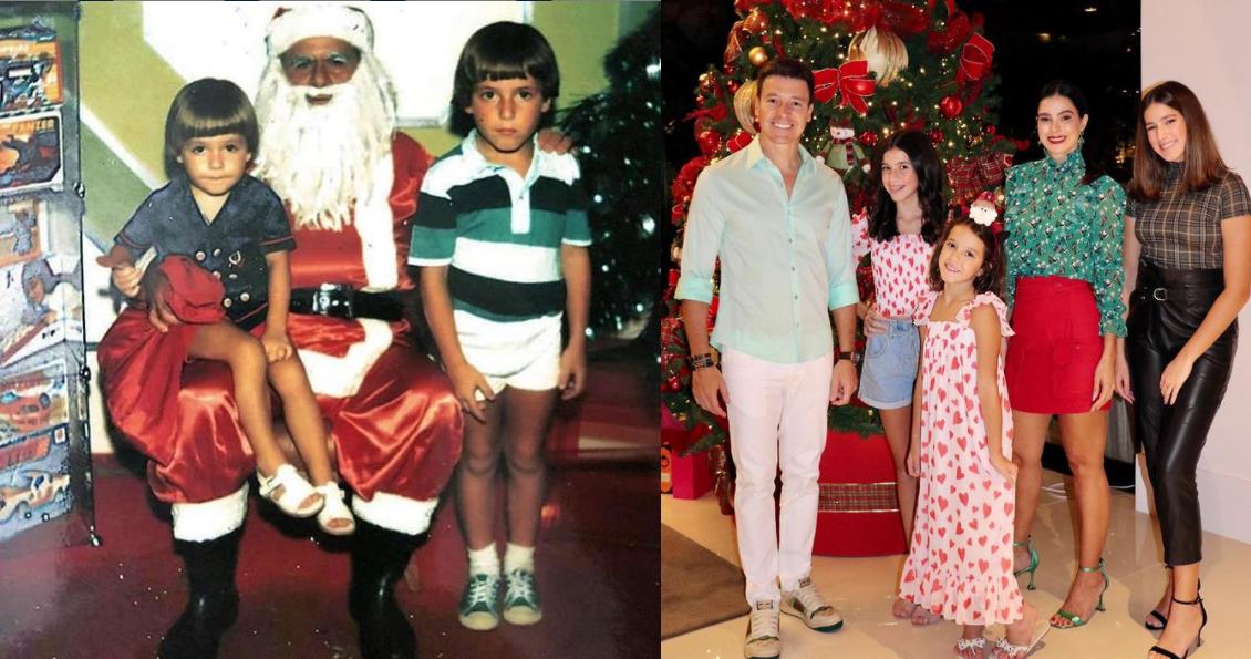 Rodrigo Faro criança à esquerda, e ontem (24) na véspera de natal com a esposa e filhas (Foto: Reprodução)