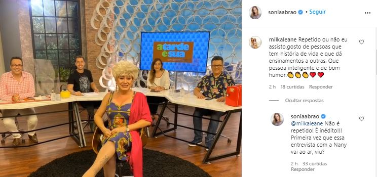 Sonia Abrão entrevistou Nany People (Foto: Reprodução/Instagram)