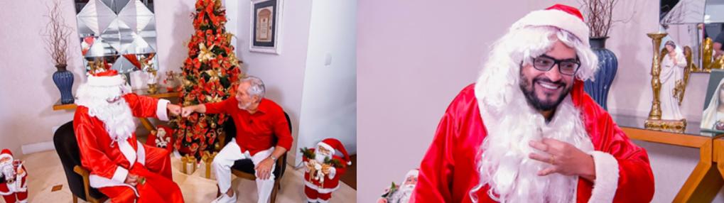 """Carlos Alberto de Nóbrega recebeu Mateus Ceará no """"A Praça é Nossa"""" especial de Natal (Foto: Divulgação/SBT)"""