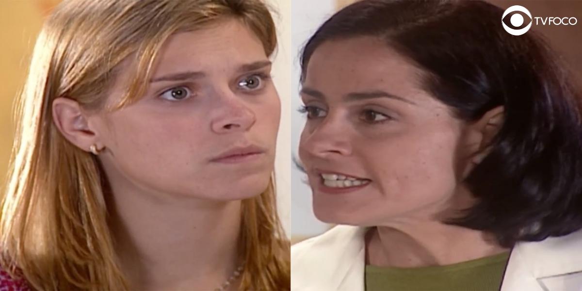 Fotomontagem de Camila e Yvete da novela Laços de Família