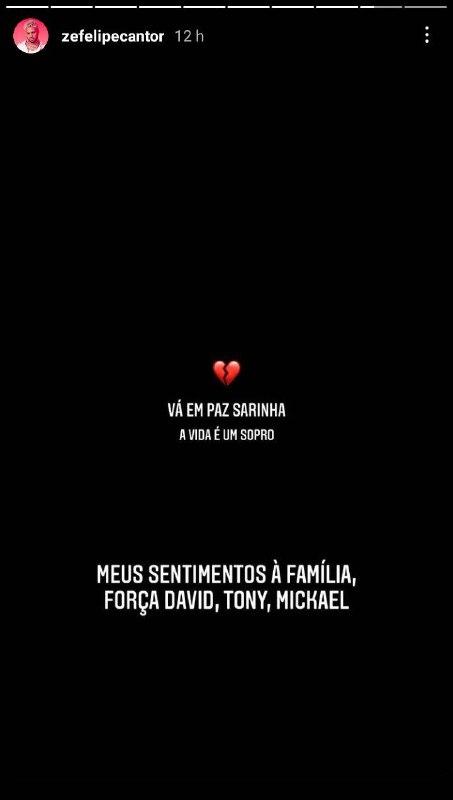 Zé Felipe lamenta morte de Sara, filha do cantor Tony Carreira (Foto: Reprodução)