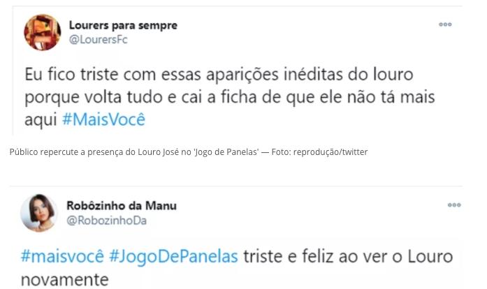 Internautas falam sobre Louro José nas redes sociais (Reprodução)