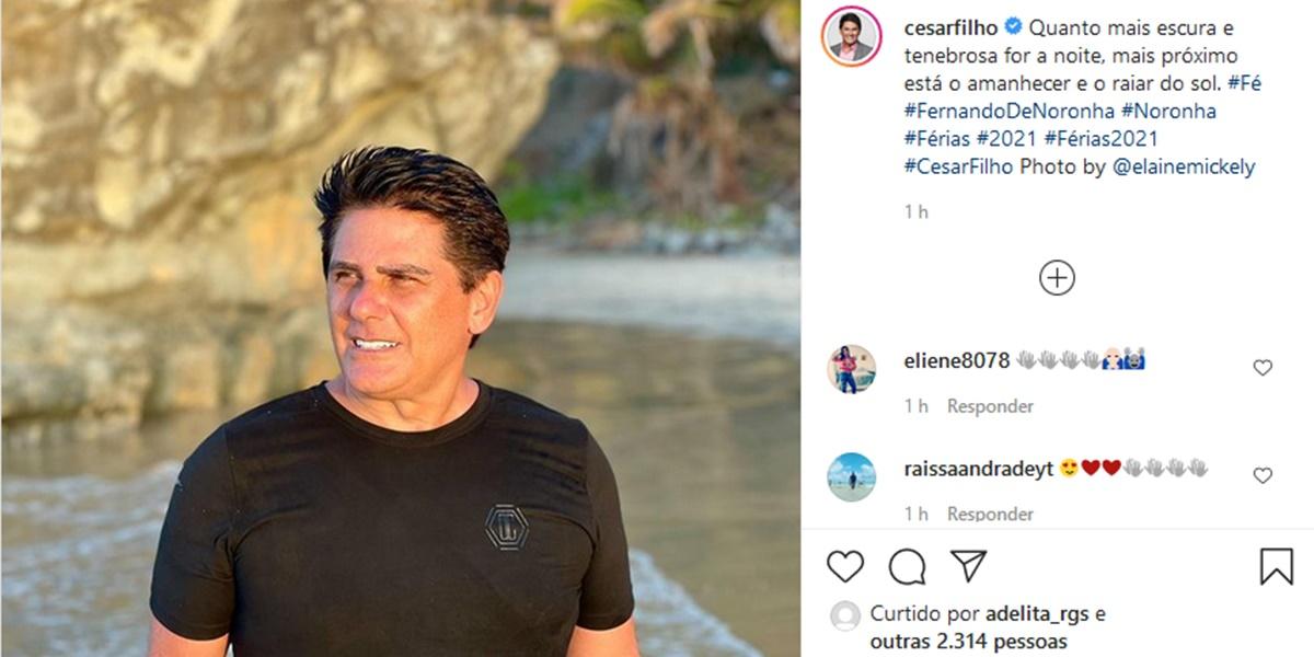 Publicação do jornalista César Filho (Foto: Reprodução)
