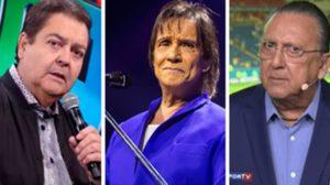 Faustão, Roberto Carlos e Galvão Bueno podem não renovar com a Globo em 2022 (Foto: Montagem/TV Foco)