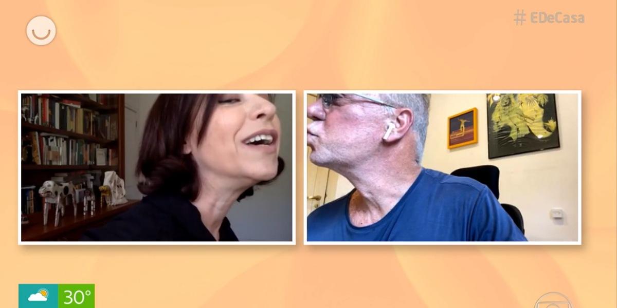 Luiz Fernando Guimarães e Fernanda Torres trocam beijo virtual no 'É de Casa' - Foto: Reprodução/Globoplay