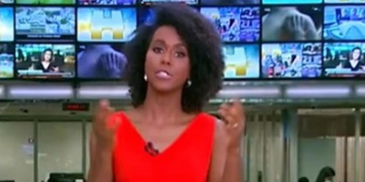 Maju Coutinho se descuidou ao vivo no Jornal Hoje (Foto: Reprodução)