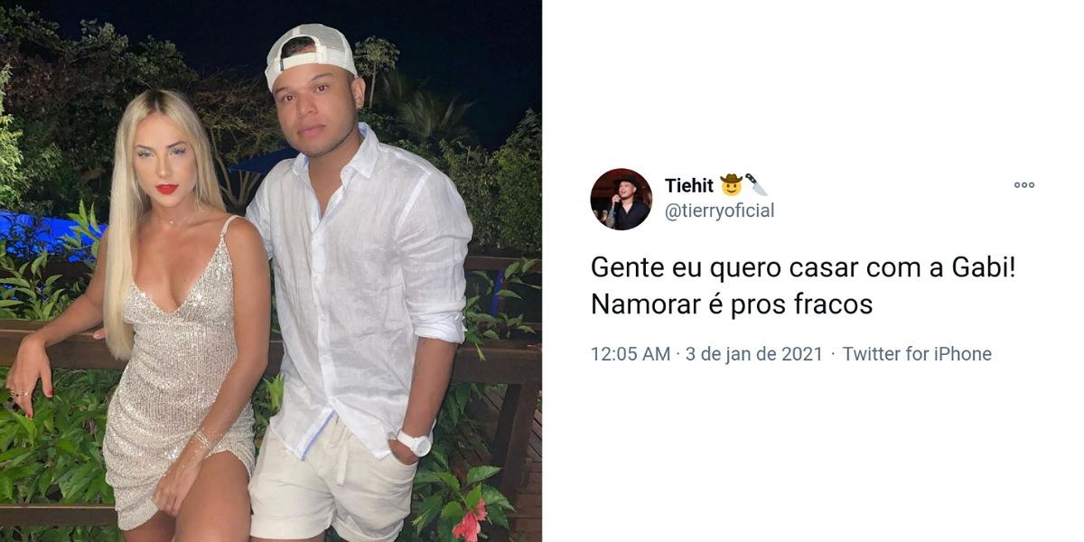 Tierry revela em publicação vontade de casar com Gabi Martins - Foto: Reprodução