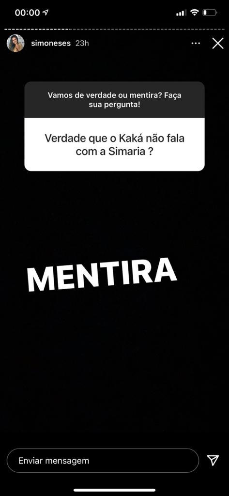 Cantora fala sobre suposta briga de Kaká com Simaria (Reprodução)