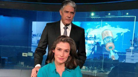 """William Bonner e Renata Vasconcellos nos estúdios do """"Jornal Nacional"""" (Foto: Reprodução/TV Globo)"""