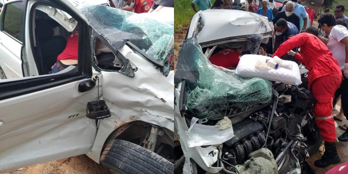 Carro de Amanda Wanessa após a colisão (Foto: Reprodução)