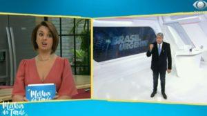 """Catia Fonseca e Datena interagiram no """"Brasil Urgente"""" (Foto: Reprodução/Band)"""