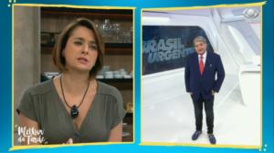Datena e Catia Fonseca durante a passagem do Melhor da Tarde para o Brasil Urgente (Foto: Divulgação)