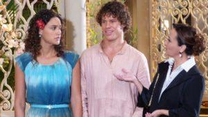 Guiomar invade festa e apresenta Candinho como filho de Dionísio (Foto: Flor do Caribe / TV Globo)