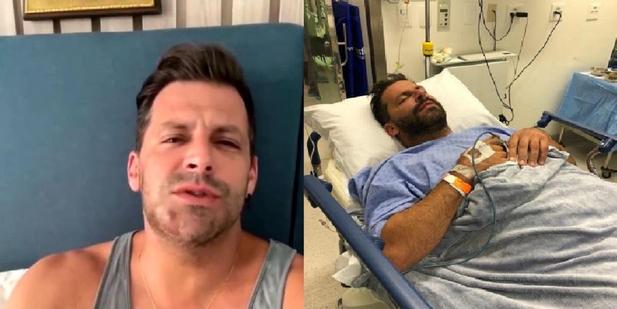 Ator da Globo Henri Castelli na maca ao fazer cirurgia após grave agressão que passou (Foto: Reprodução)