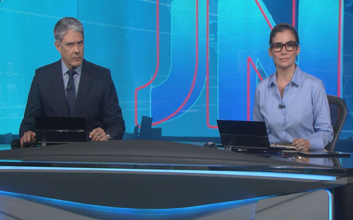 William Bonner e Renata Vasconcellos no Jornal Nacional desta quarta- feira, na Globo (Foto: Divulgação)
