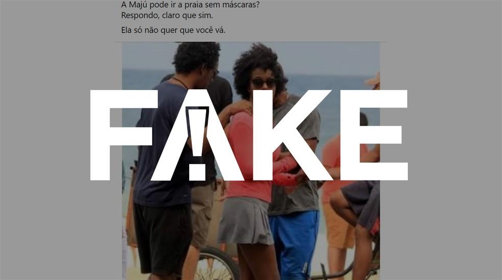 Maju não passou o réveillon 2021 sem máscara em praia do Rio de Janeiro (Foto: JC Pereira/AgNews/G1)