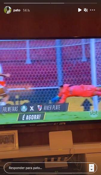 Pato assistiu à disputa entre o Palmeiras e o River Plate pela Copa Libertadores (Foto: Reprodução/Instagram)