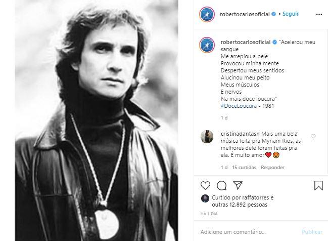 Roberto Carlos foi casado com Myrian Rios por 11 anos (Foto: Reprodução/Instagram)