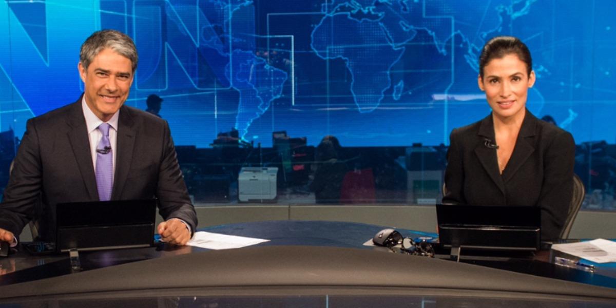 """William Bonner e Renata Vasconcellos no """"Jornal Nacional"""" (Foto: Divulgação/TV Globo)"""