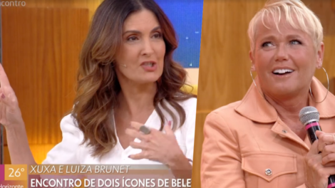 Fátima Bernardes recebeu Xuxa no palco do Encontro (Foto reprodução)