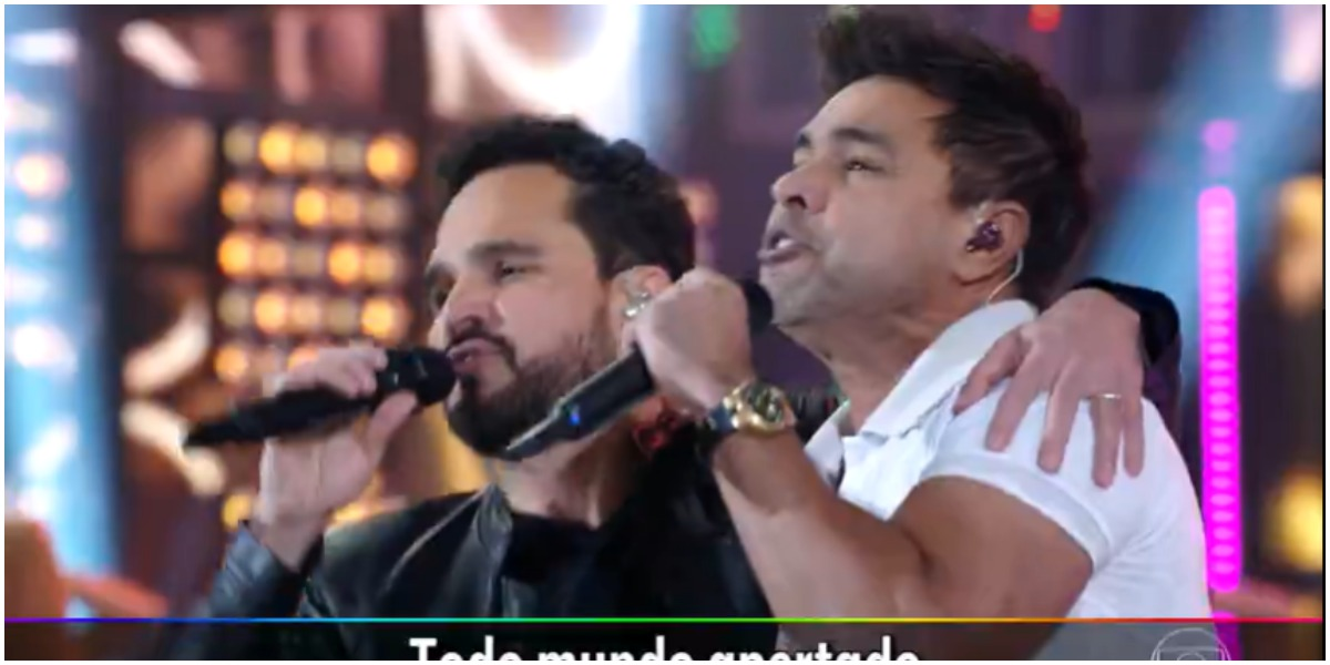 Zezé Di Camargo e Luciano vão ao Faustão e mostram nova canção ao público (Foto: Reprodução)
