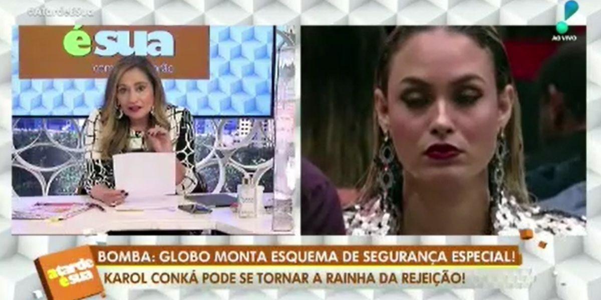 Sonia Abrão detonando Karol Conká às câmeras (Foto: Reprodução / Rede TV!)
