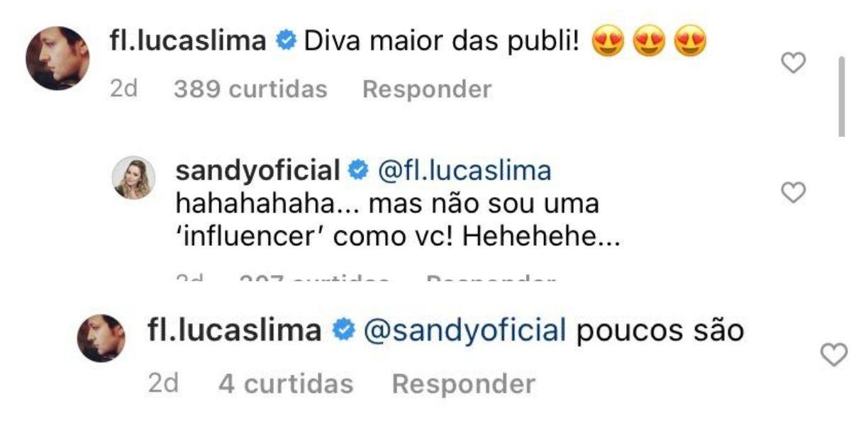 Sandy e Lucas Lima nas redes sociais (Foto: Reprodução / Instagram)