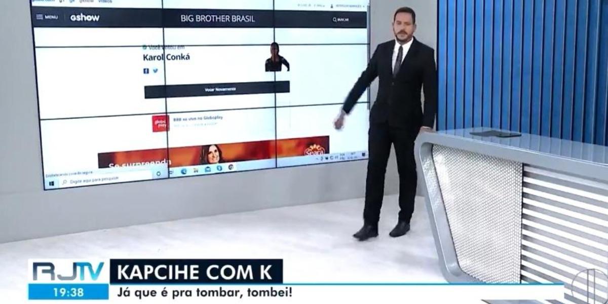 Apresentador da Globo vota na eliminação de Karol Conká ao vivo (Foto: Reprodução)
