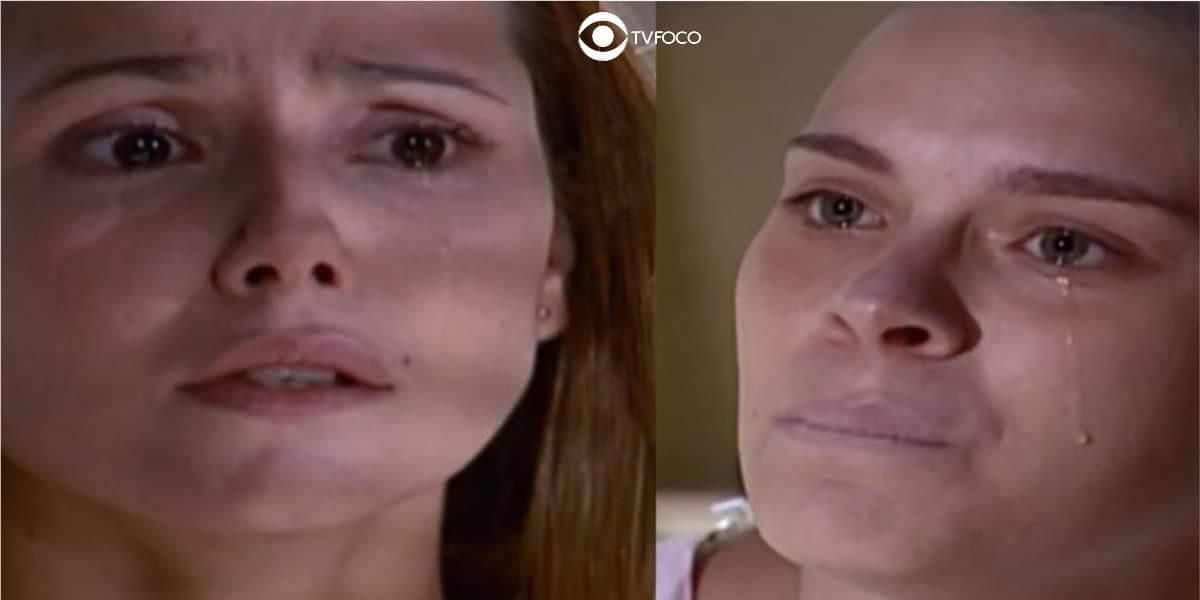 Fotomontagem de Camila e Íris na trama de Laços de Família