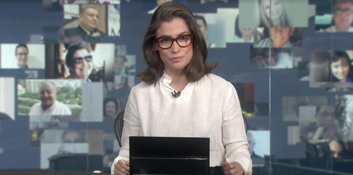 Renata Vasconcellos fez apelo ao vivo no Jornal Nacional ao falar do número alto de mortes causados pelo Coronavírus (Foto: Reprodução)