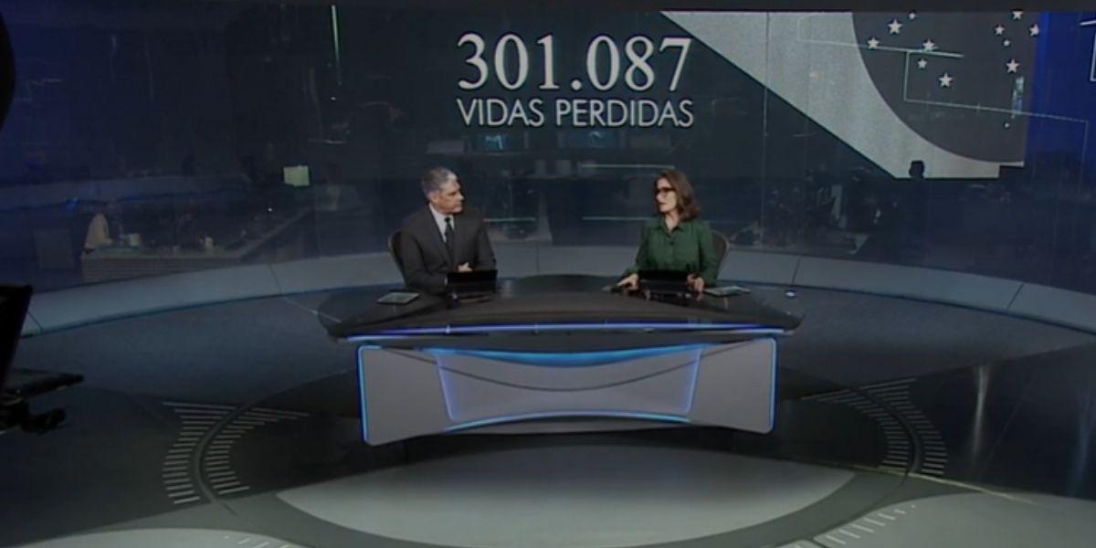 Renata Vasconcellos e William Bonner encerrando Jornal Nacional com novo recorde de mortes (Foto: Reprodução/Globo)