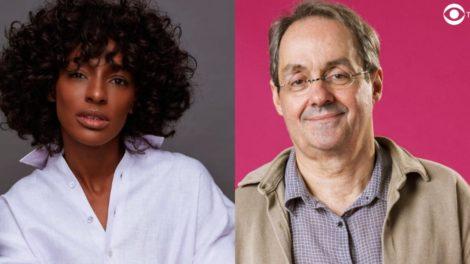 Pathy Dejesus (mulher negra de camisa branca) e Daniel Dantas (homem branco, cabelo grisalho e de óculos) formaram par em Um Lugar ao Sol