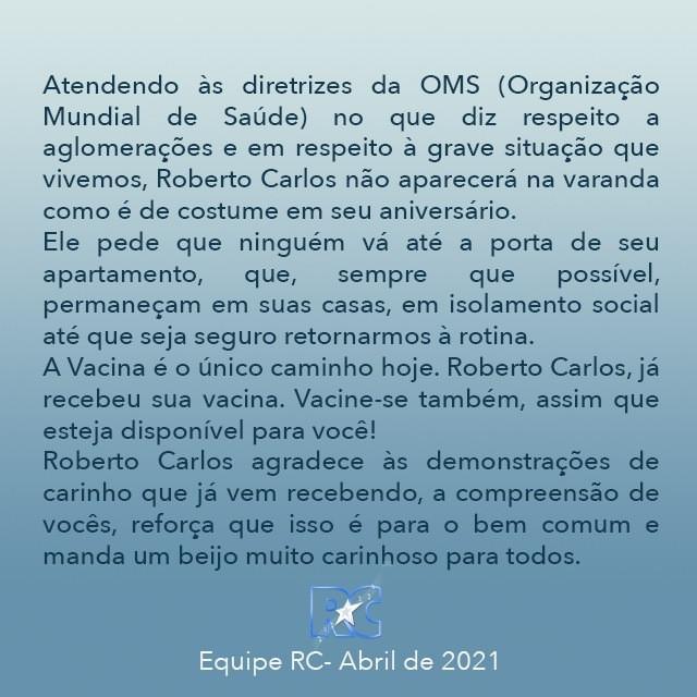 Roberto Carlos manda recado ao público (Reprodução)