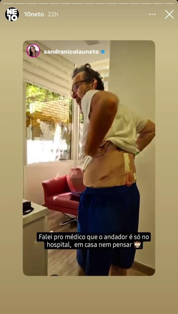 Neto surgiu com um corte enome nas costas (Foto: Reprodução/ Instagram)