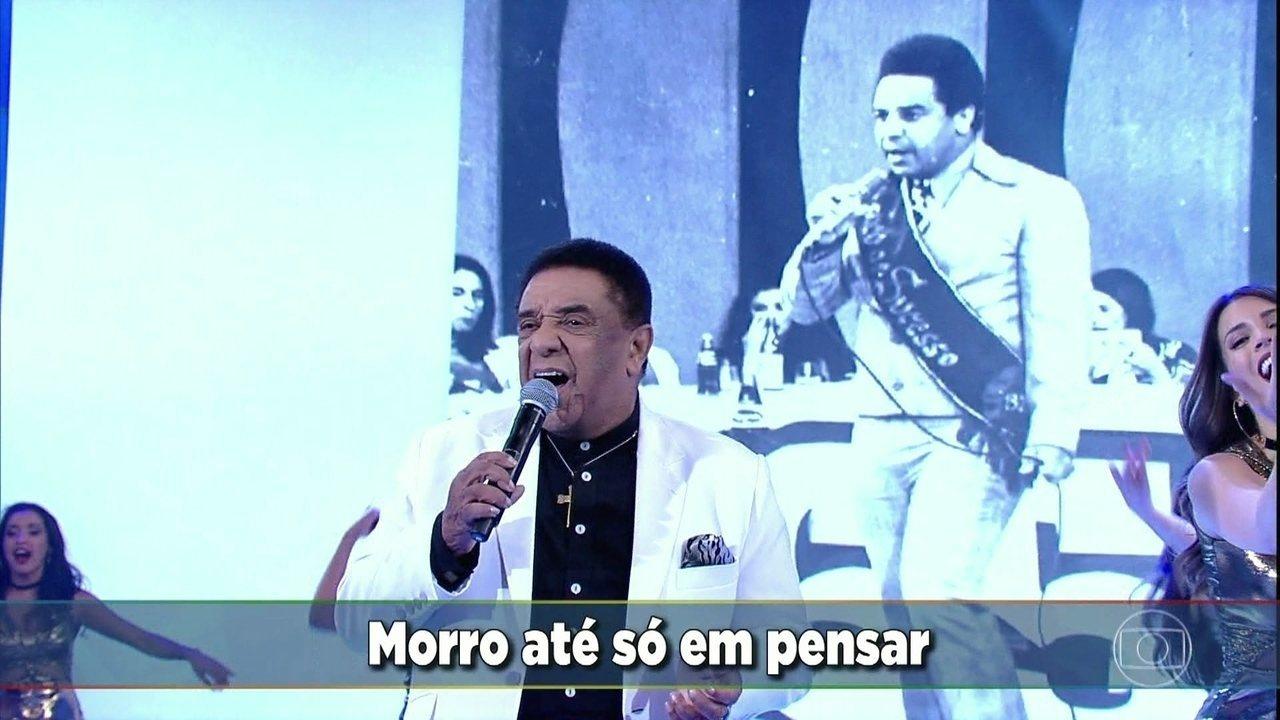 Agnaldo Timóteo durante uma participação no programa do Faustão (Reprodução: Globo)